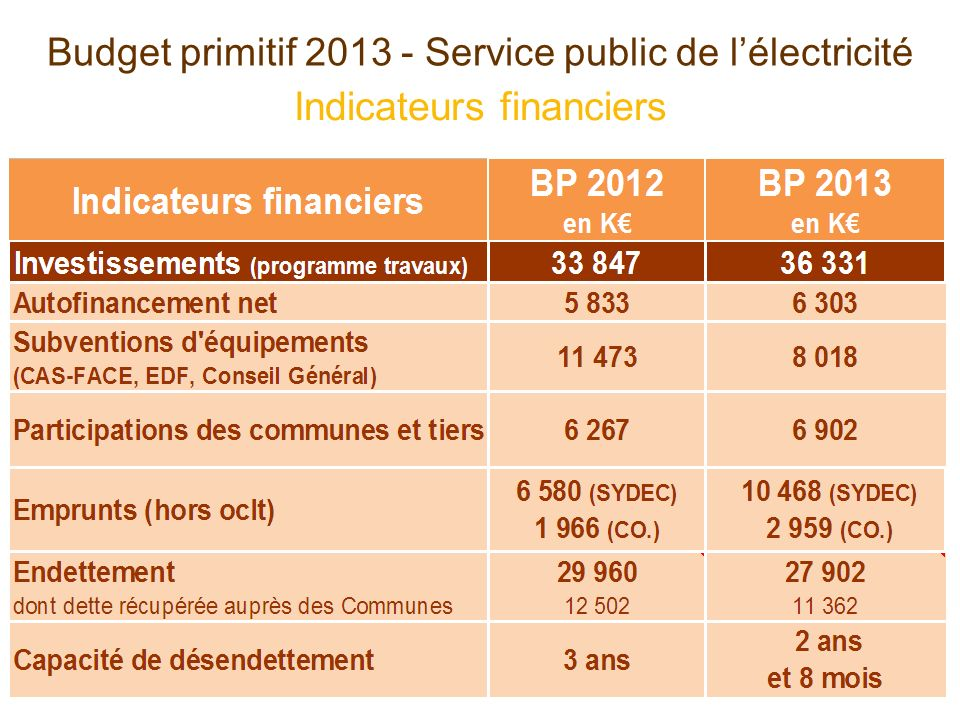 Indicateurs financiers Budget primitif Service public de lélectricité