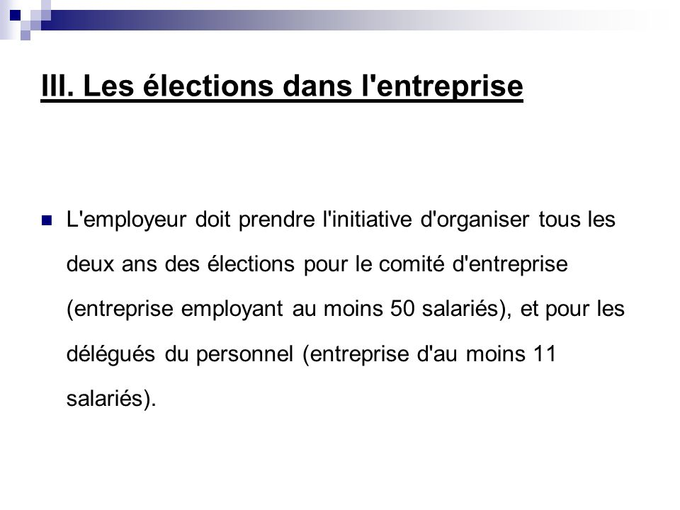 La Representation Du Personnel Plan Introduction I Les Delegues Du