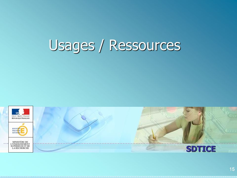 SDTICE Usages / Ressources 15