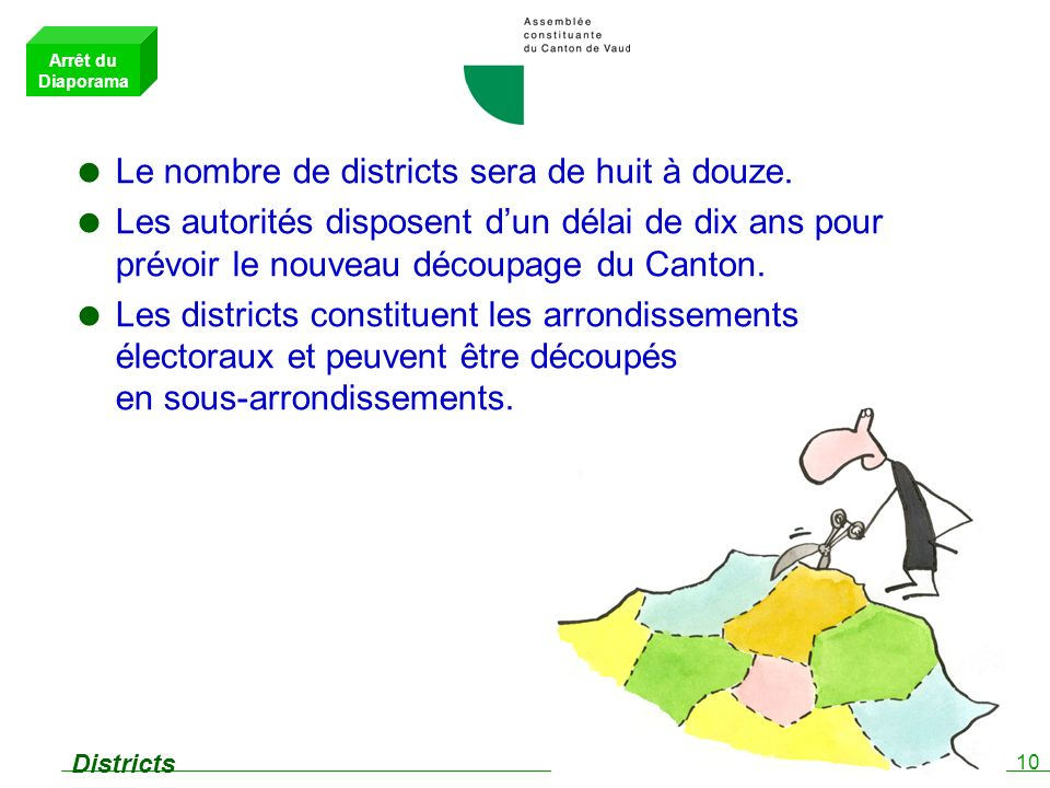 10 Districts Le nombre de districts sera de huit à douze.