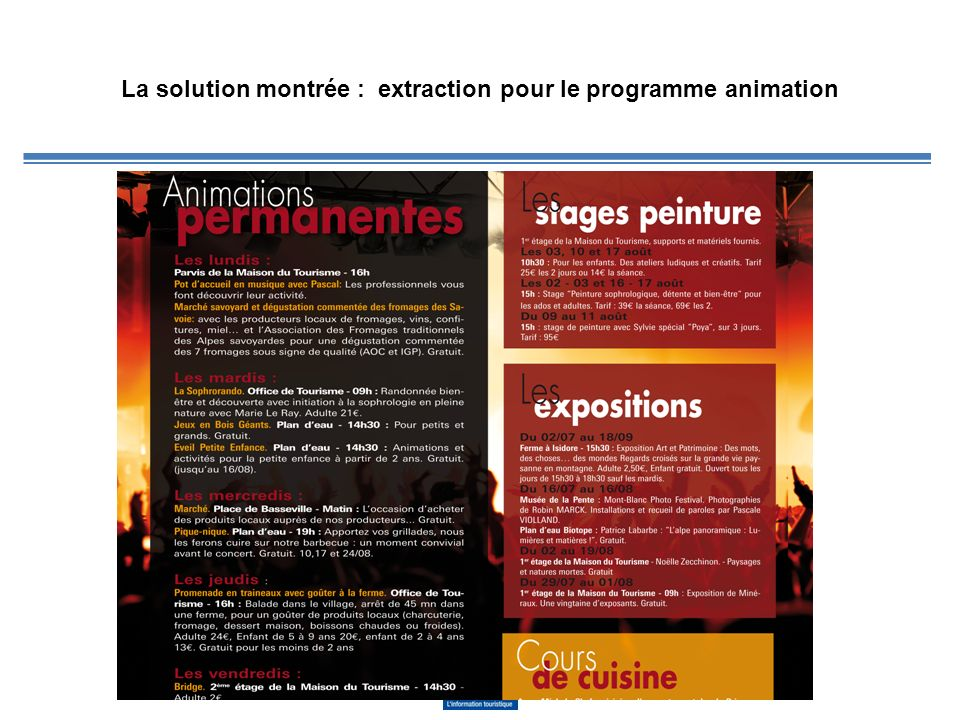 La solution montrée : extraction pour le programme animation