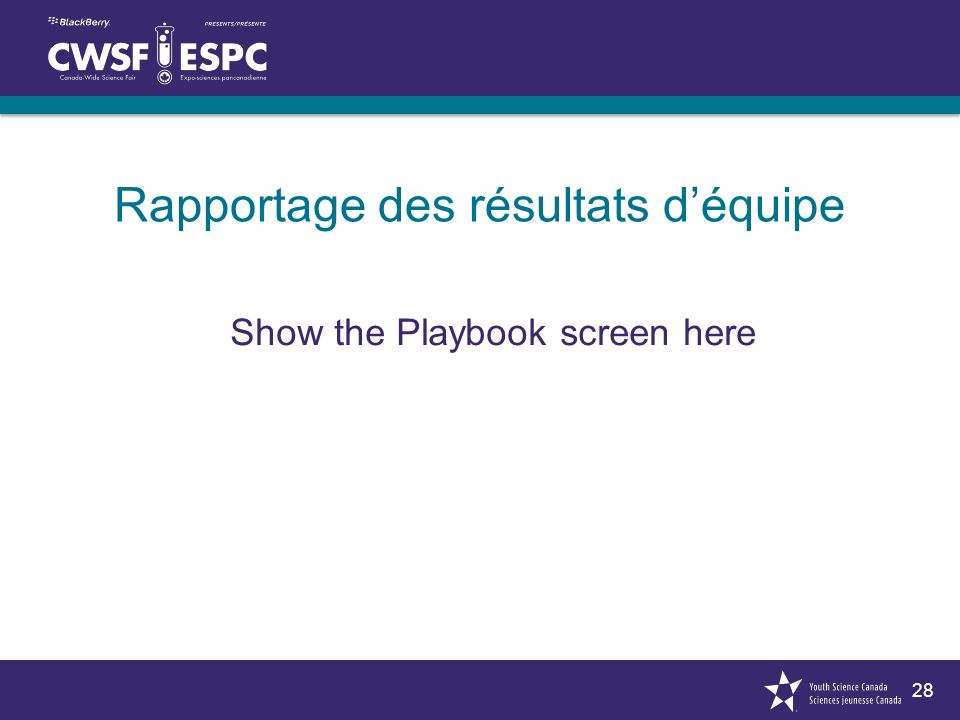 28 Rapportage des résultats déquipe Show the Playbook screen here