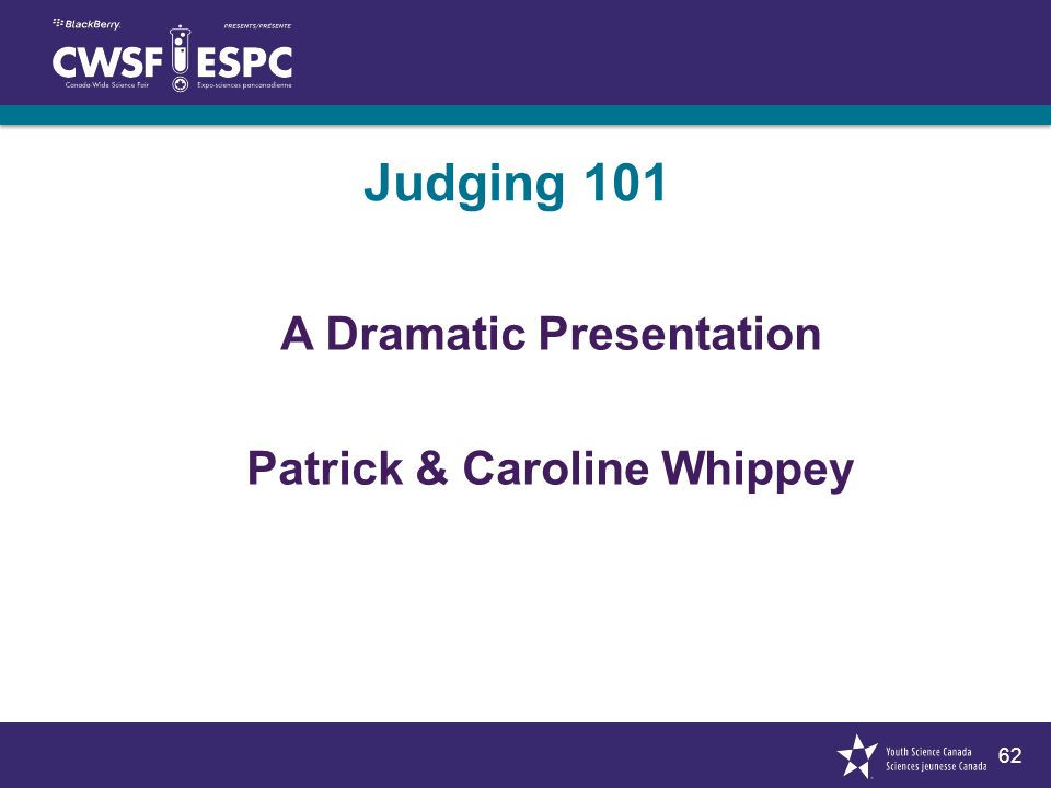 62 Judging 101 A Dramatic Presentation Patrick & Caroline Whippey