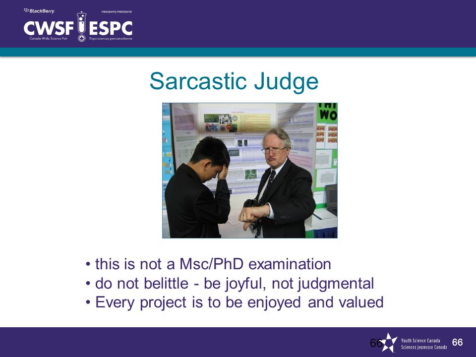 66 Sarcastic Judge 66 this is not a Msc/PhD examination do not belittle - be joyful, not judgmental Every project is to be enjoyed and valued