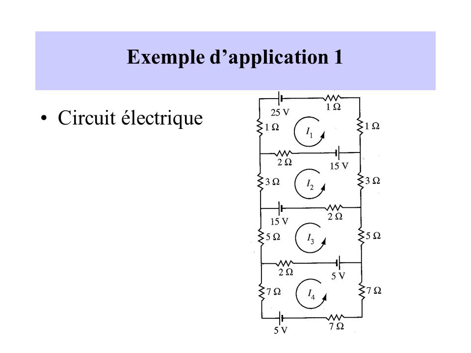 Exemple dapplication 1 Circuit électrique