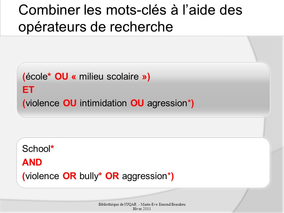Combiner les mots-clés à laide des opérateurs de recherche Bibliothèque de l UQAR - Marie-Eve Emond Beaulieu Hiver 2011 (école* OU « milieu scolaire ») ET (violence OU intimidation OU agression*) School* AND (violence OR bully* OR aggression*)