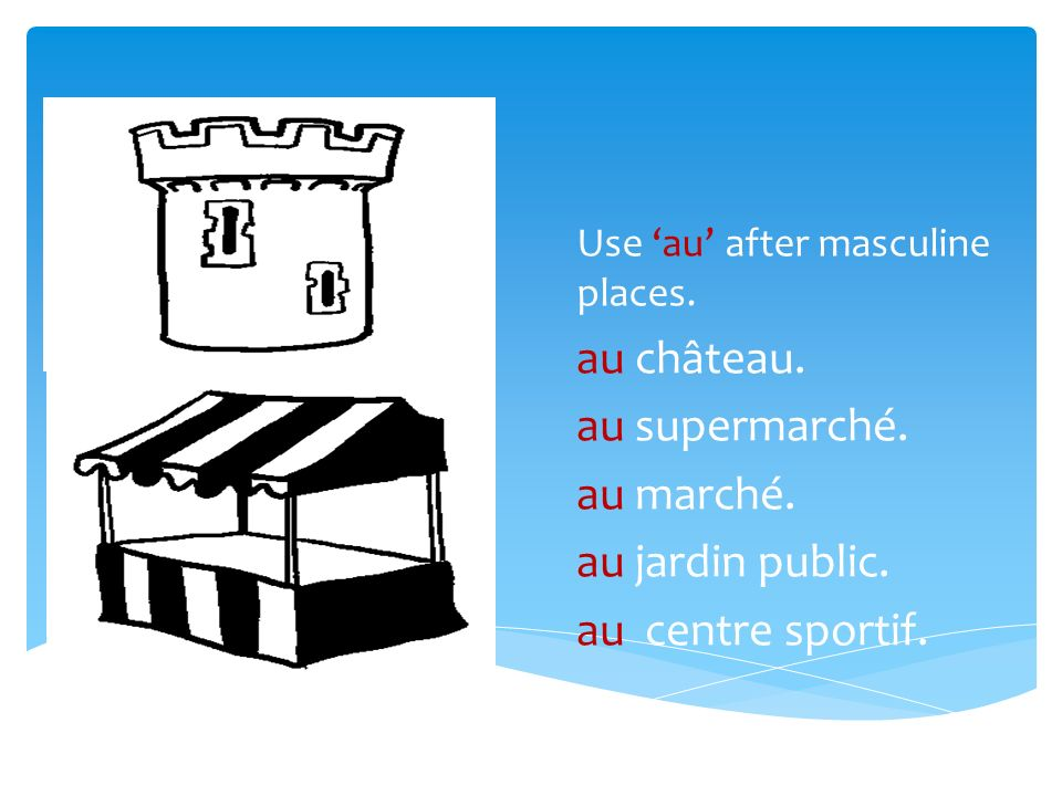Use au after masculine places. au château. au supermarché.