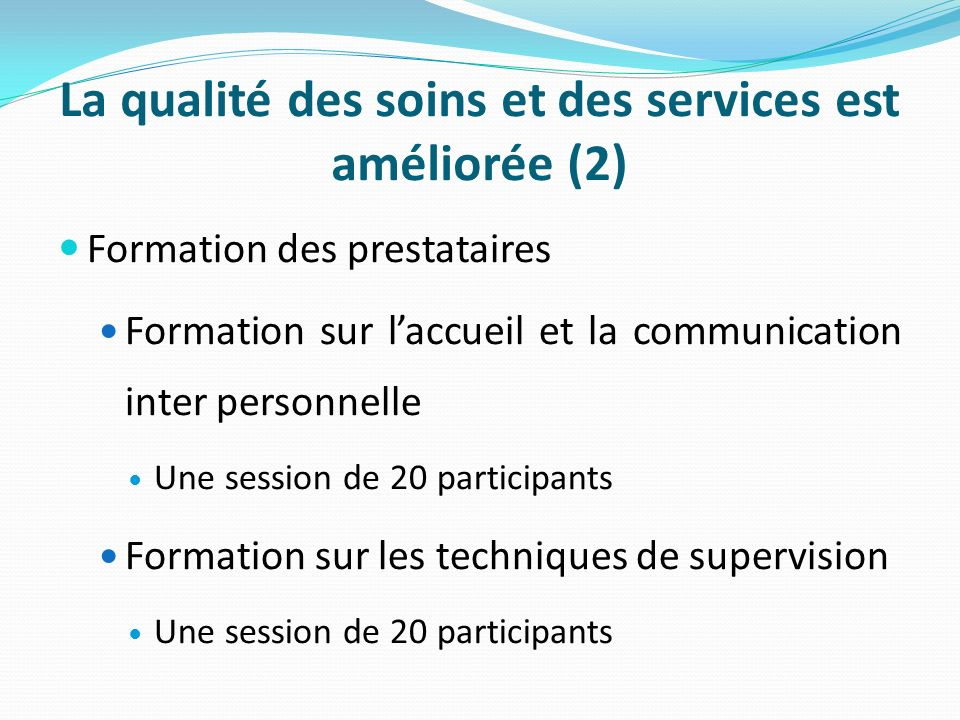La qualité des soins et des services est améliorée (2) Formation des prestataires Formation sur laccueil et la communication inter personnelle Une session de 20 participants Formation sur les techniques de supervision Une session de 20 participants