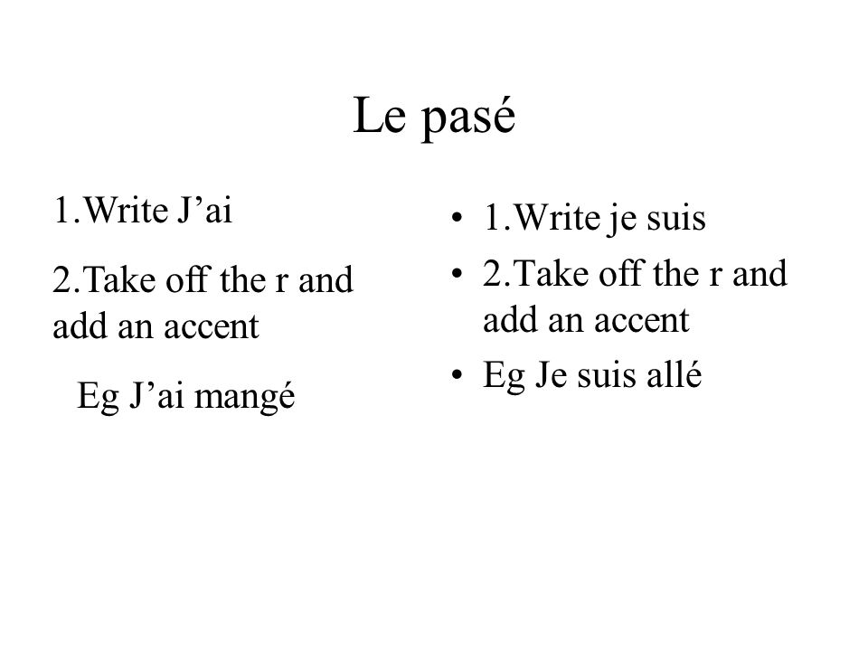 Le pasé 1.Write je suis 2.Take off the r and add an accent Eg Je suis allé 1.Write Jai 2.Take off the r and add an accent Eg Jai mangé