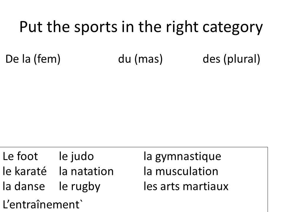 Put the sports in the right category De la(fem)du (mas)des (plural) Le footle judola gymnastique le karaté la natationla musculation la dansele rugbyles arts martiaux Lentraînement`