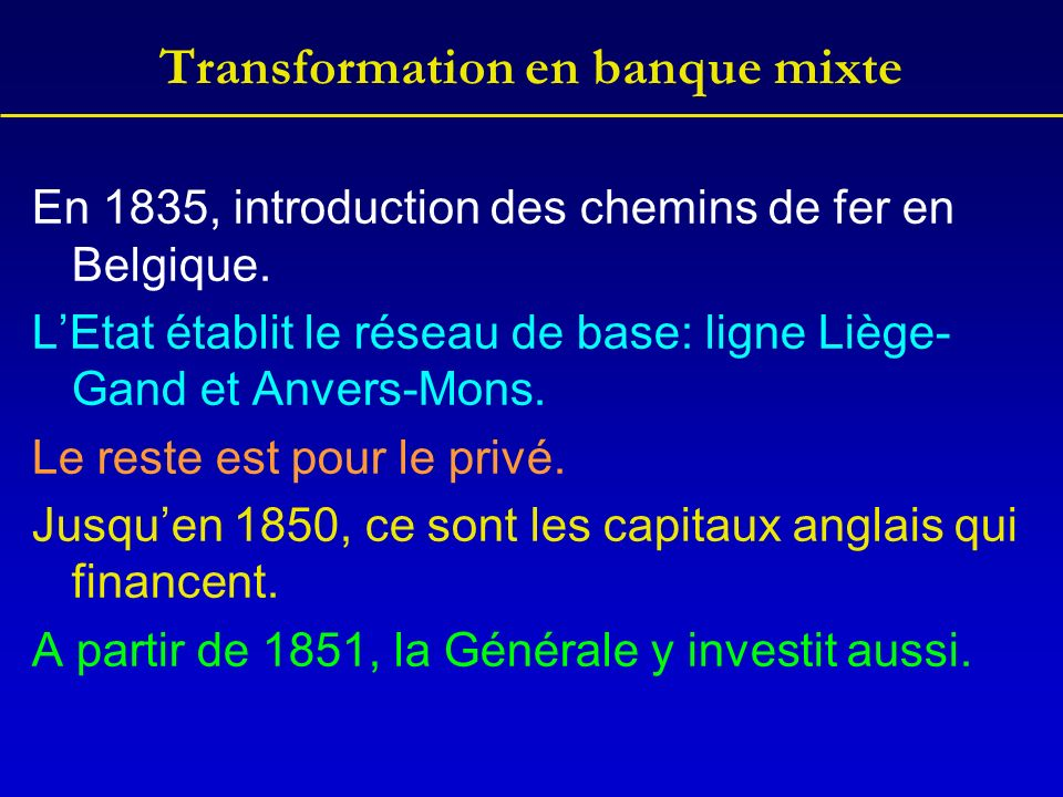Transformation en banque mixte En 1835, introduction des chemins de fer en Belgique.