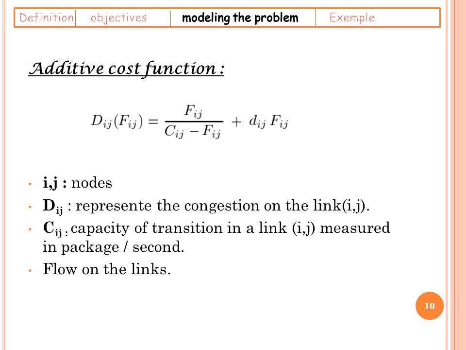 Additive cost function : i,j : nodes D ij : represente the congestion on the link(i,j).
