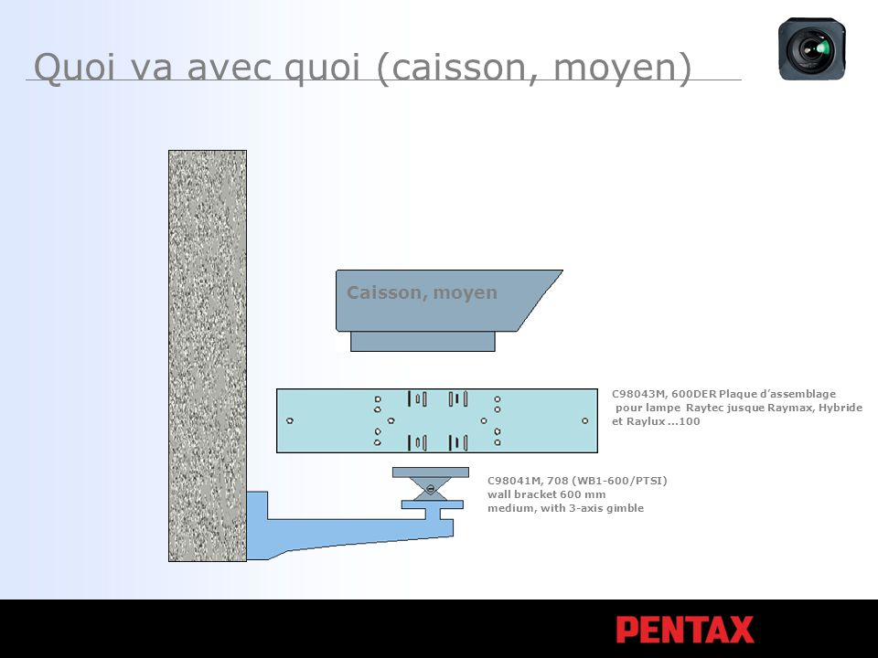Quoi va avec quoi (caisson, moyen) Caisson, moyen C98043M, 600DER Plaque dassemblage pour lampe Raytec jusque Raymax, Hybride et Raylux...100 C98041M, 708 (WB1-600/PTSI) wall bracket 600 mm medium, with 3-axis gimble