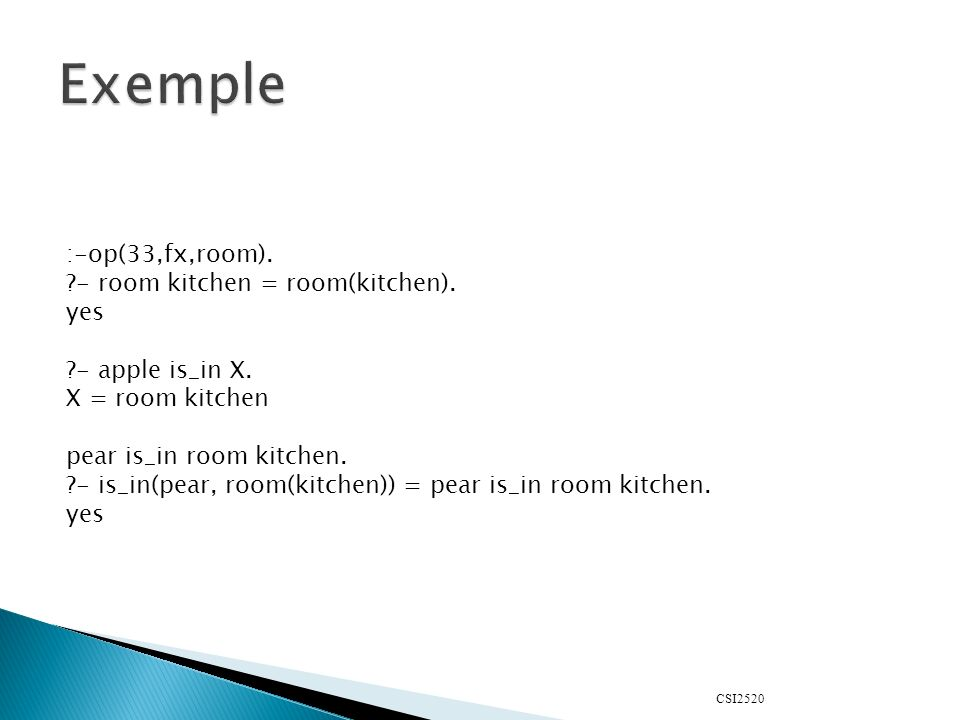 CSI2520 :-op(33,fx,room). - room kitchen = room(kitchen).