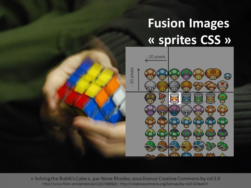 « Solving the Rubik s Cube », par Steve Rhodes, sous licence Creative Commons by-nd 2.0 http://www.flickr.com/photos/ari/2217206582/- http://creativecommons.org/licenses/by-nd/2.0/deed.fr Fusion Images « sprites CSS »