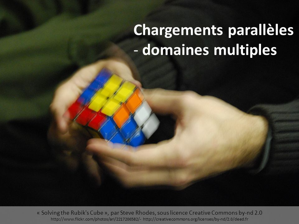« Solving the Rubik s Cube », par Steve Rhodes, sous licence Creative Commons by-nd 2.0 http://www.flickr.com/photos/ari/2217206582/- http://creativecommons.org/licenses/by-nd/2.0/deed.fr Chargements parallèles - domaines multiples
