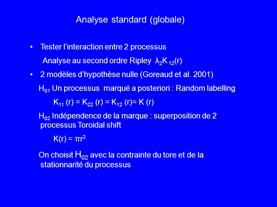 Tester linteraction entre 2 processus Analyse au second ordre Ripley λ 2 K 12 (r) 2 modèles dhypothèse nulle (Goreaud et al.