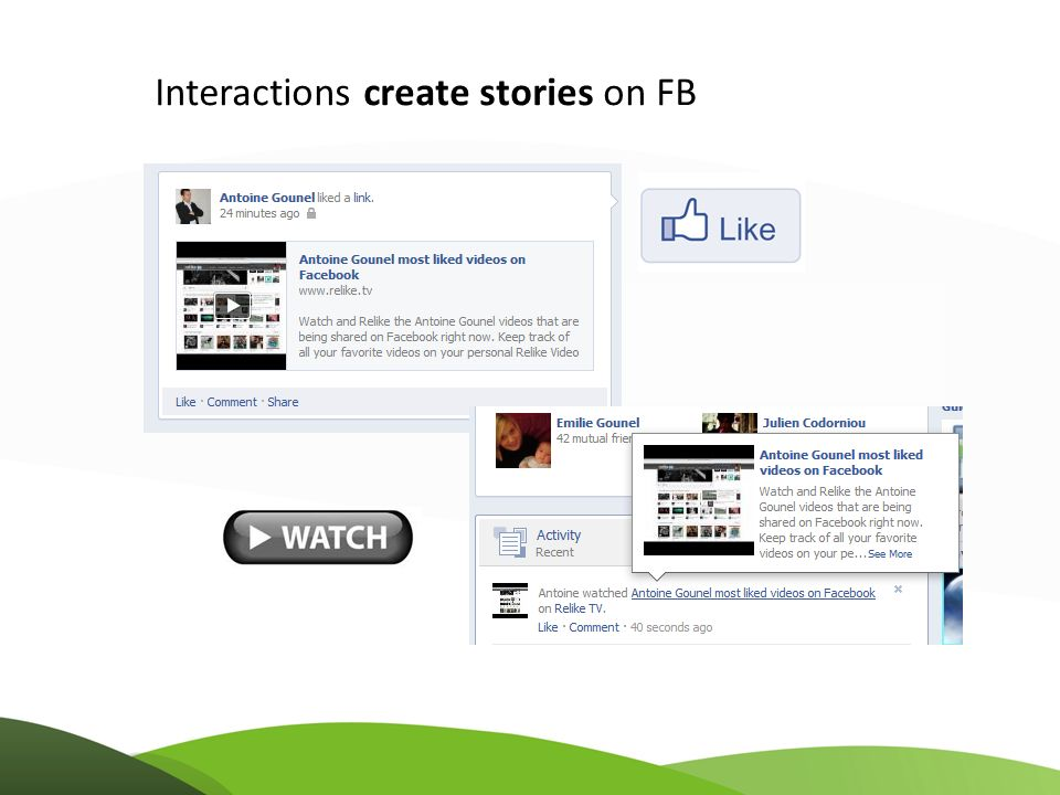 Interactions create stories on FB