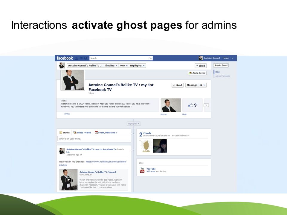 OPEN GRAPH PAGES Interactions activate ghost pages for admins