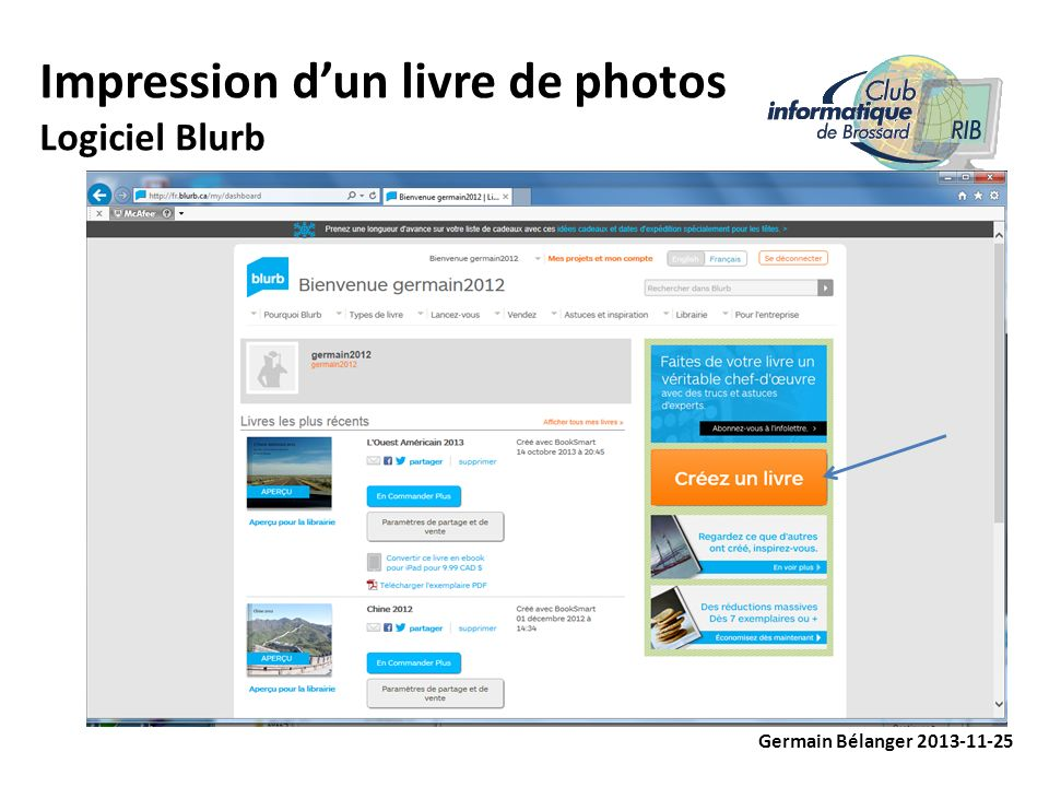 Impression dun livre de photos Logiciel Blurb Germain Bélanger 2013-11-25