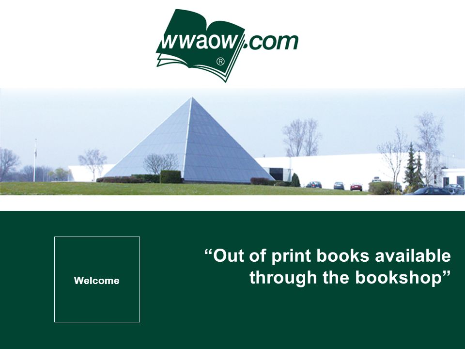 Welcome Out of print books available through the bookshop