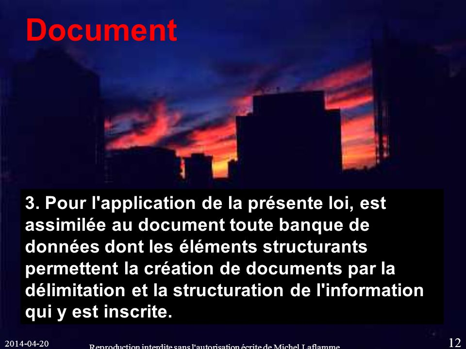 Reproduction interdite sans l autorisation écrite de Michel Laflamme 12 Document 3.