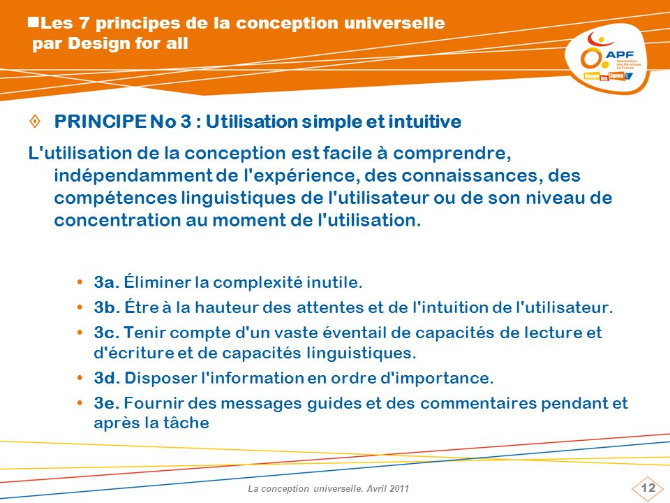 12 La conception universelle.