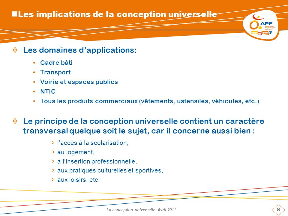 8 La conception universelle.