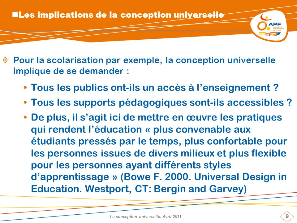 9 La conception universelle.