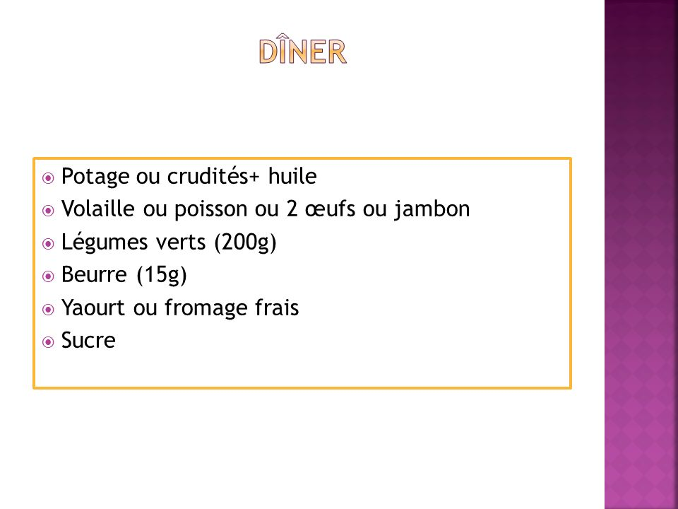 Pain (¼ de baguette) Fromage (30g) Fruit 2 biscuits secs.