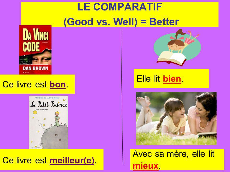 LE COMPARATIF (Good vs. Well) = Better Ce livre est bon.