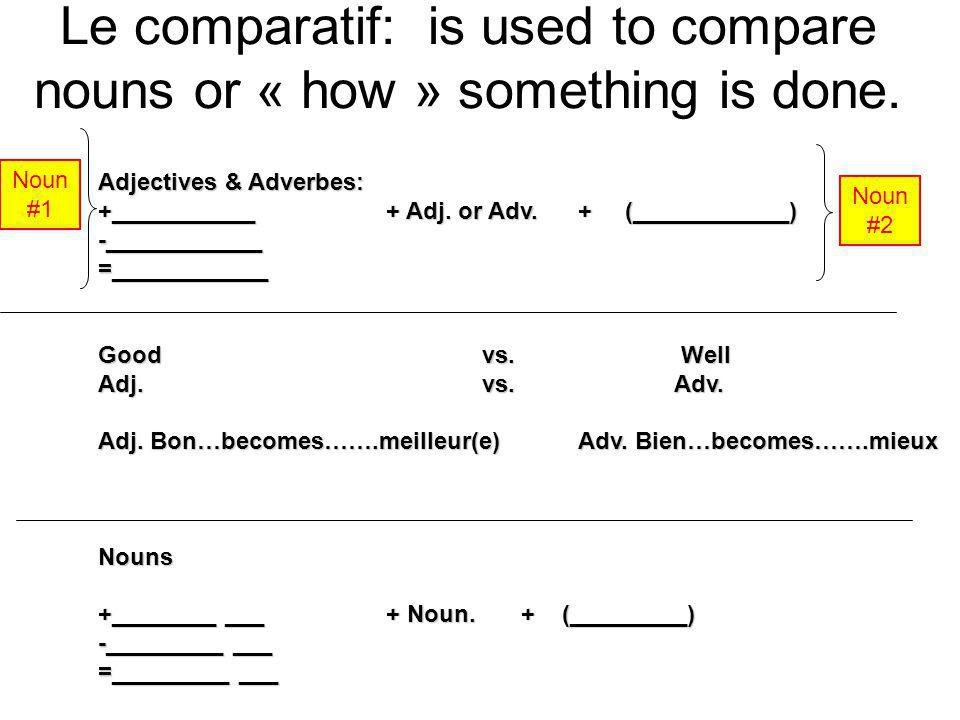 Le comparatif: is used to compare nouns or « how » something is done.