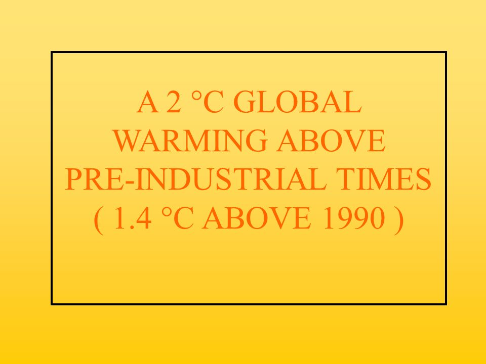 A 2 °C GLOBAL WARMING ABOVE PRE-INDUSTRIAL TIMES ( 1.4 °C ABOVE 1990 )