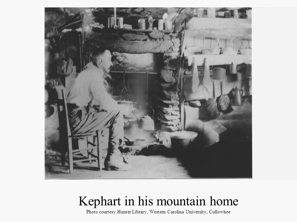 Kephart in his mountain home Photo courtesy Hunter Library, Western Carolina University, Cullowhee