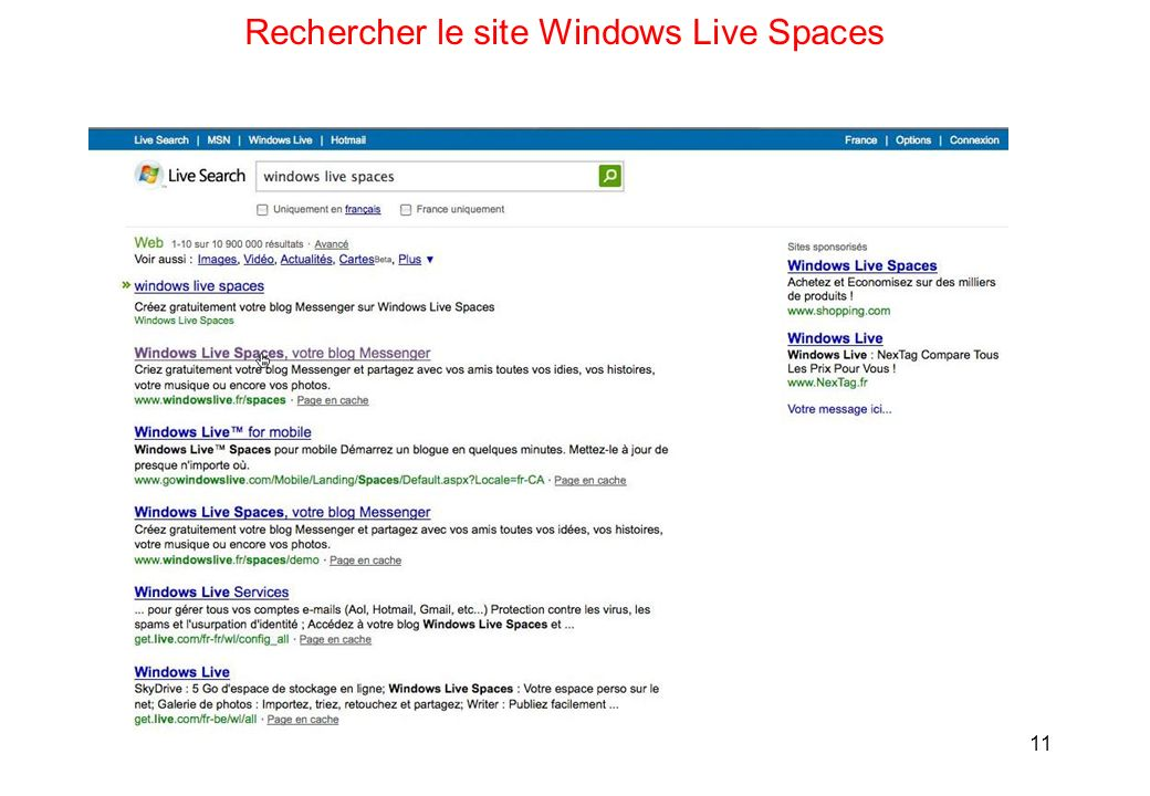 11 Rechercher le site Windows Live Spaces