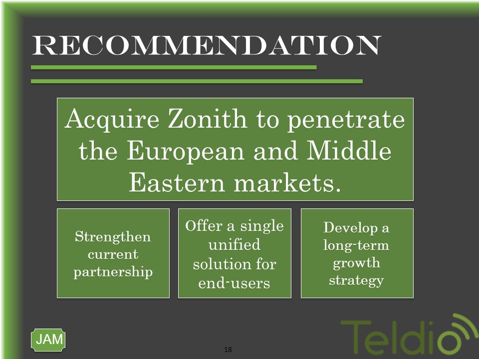 JAM 18 RECOMMENDATION Acquire Zonith to penetrate the European and Middle Eastern markets.
