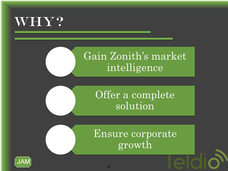 JAM 19 WHY Gain Zoniths market intelligence Offer a complete solution Ensure corporate growth