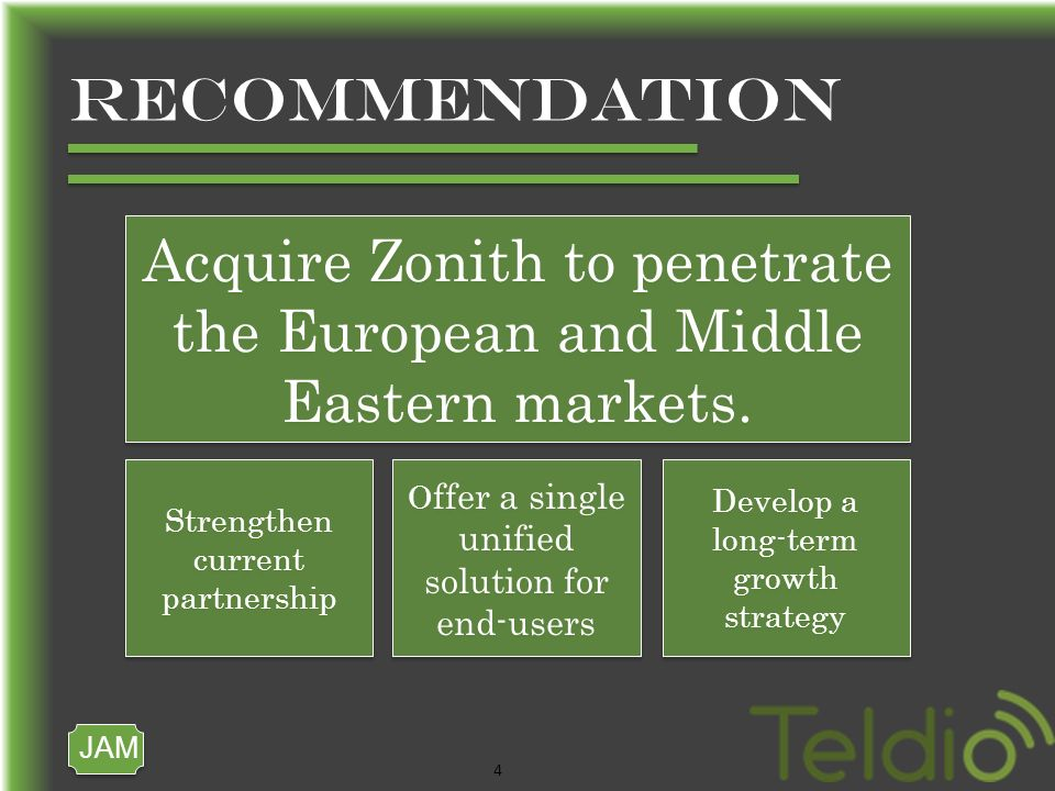 JAM 4 RECOMMENDATION Acquire Zonith to penetrate the European and Middle Eastern markets.