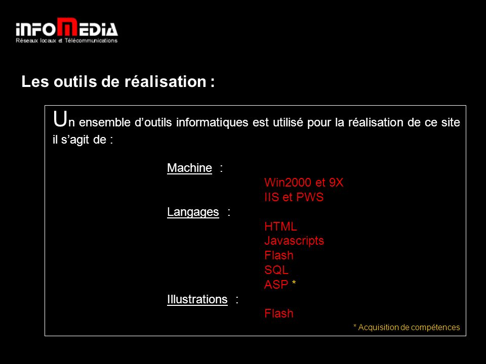 Les outils de réalisation : U n ensemble doutils informatiques est utilisé pour la réalisation de ce site il sagit de : Machine : Win2000 et 9X IIS et PWS Langages : HTML Javascripts Flash SQL ASP * Illustrations : Flash * Acquisition de compétences Les outils