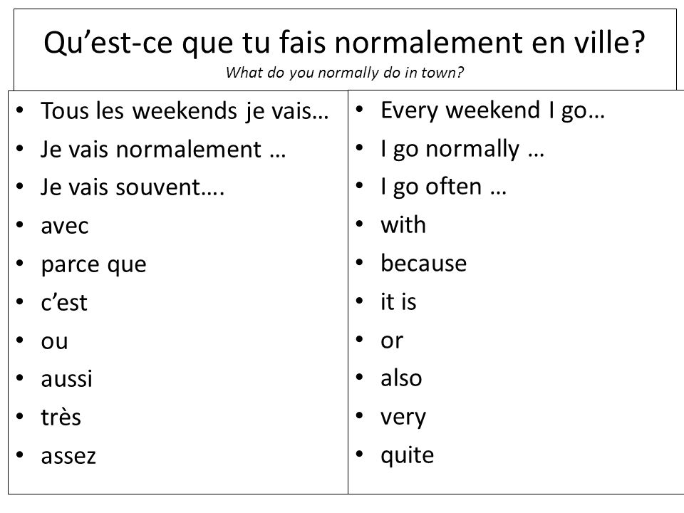 Quest-ce que tu fais normalement en ville. What do you normally do in town.