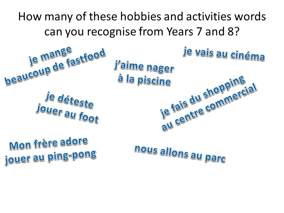 How many of these hobbies and activities words can you recognise from Years 7 and 8