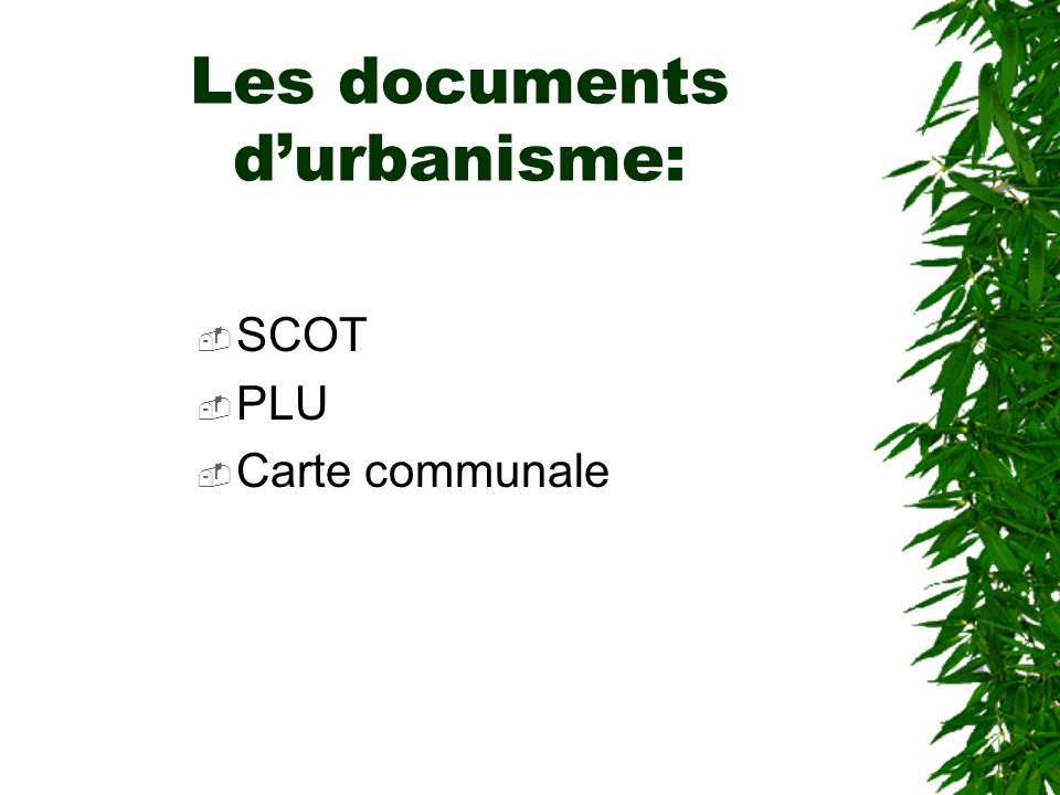 Les documents durbanisme: SCOT PLU Carte communale