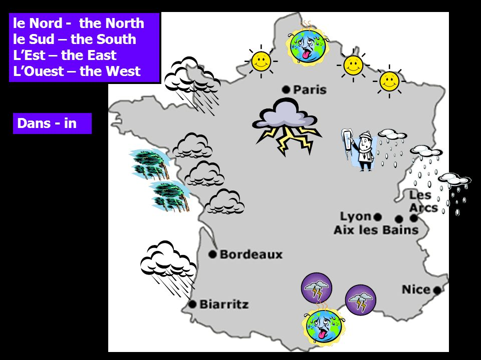 le Nord - the North le Sud – the South LEst – the East LOuest – the West Dans - in