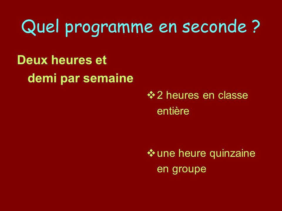 Quel programme en seconde .