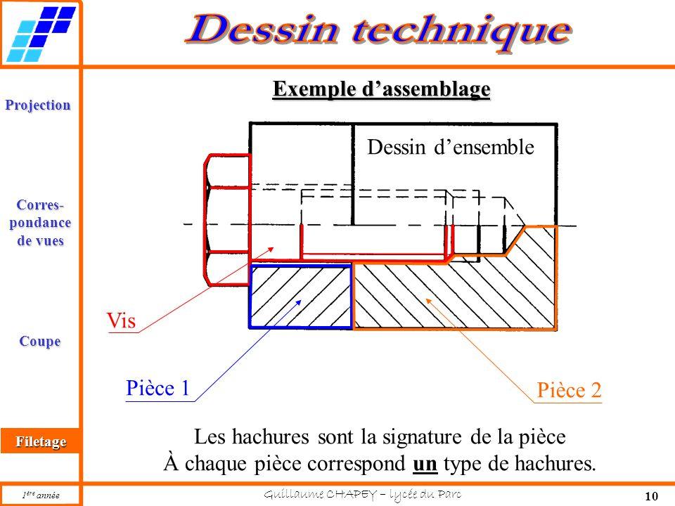 Projection Corres Pondance De Vues Coupe Filetage 1 Ere Annee