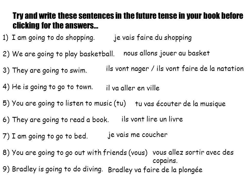 Try and write these sentences in the future tense in your book before clicking for the answers… 1)I am going to do shopping.
