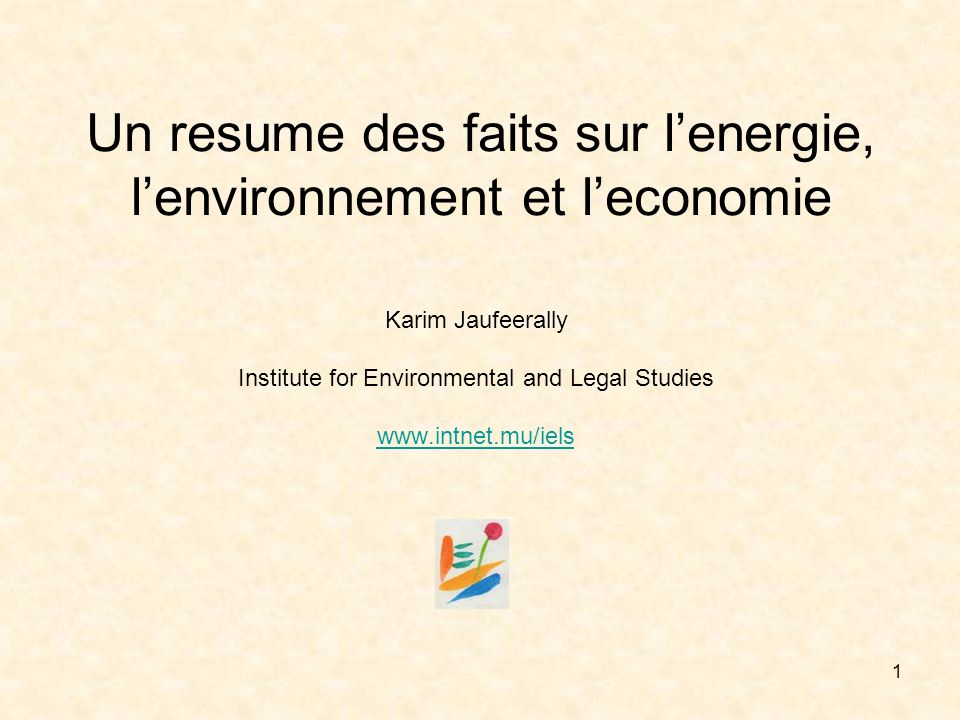 1 Un resume des faits sur lenergie, lenvironnement et leconomie Karim Jaufeerally Institute for Environmental and Legal Studies