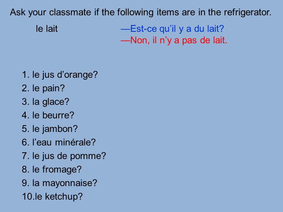 Ask your classmate if the following items are in the refrigerator.