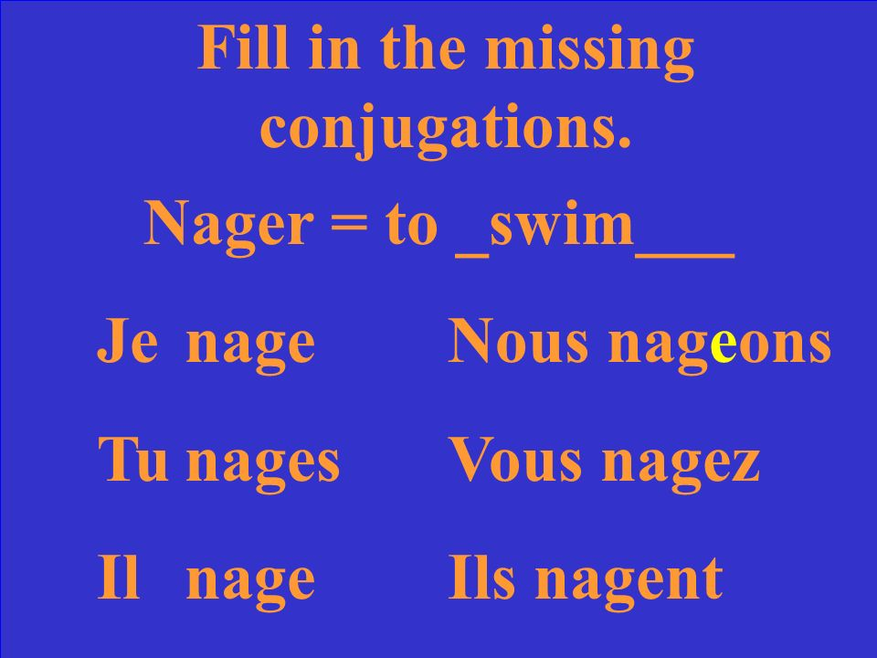 Fill in the missing conjugations. Nager = to ____ JeNous TuVous IlIls