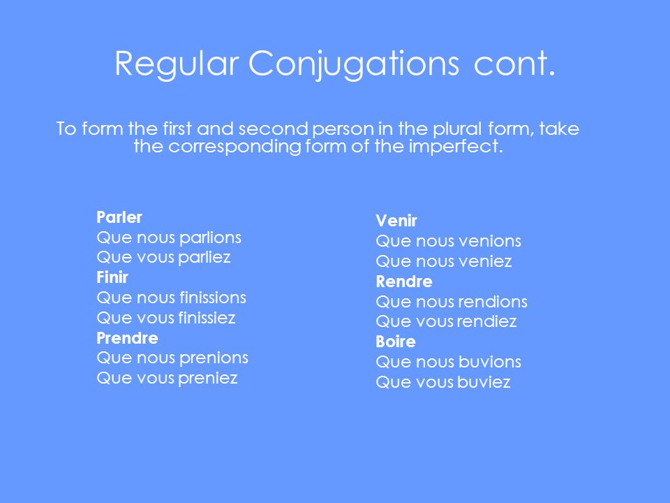 Regular Conjugations cont.